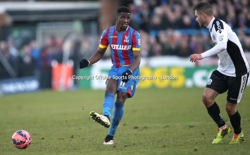 4 January 2015 FA Cup 3rd round - Dover Athletic v Crystal Palace ;  Wilfried Zaha of Palace passes the ball.<br /> Photo: Mark Leech