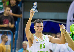 MVP Jure Balazic of Slovenia after the friendly match between National teams of Slovenia and Turkey for Eurobasket 2013 on August 4, 2013 in Arena Zlatorog, Celje, Slovenia. (Photo by Vid Ponikvar / Sportida.com)