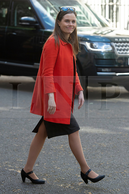 © Licensed to London News Pictures. 02/05/2019. London, UK. Prime Minister of Iceland Katrin Jakobsdottir leaves No.10 Downing Street after a meeting with British Prime Minister Theresa May. Photo credit: Ray Tang/LNP
