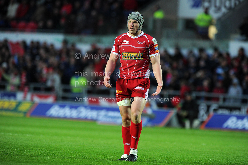 Jonathan Davies of the Scarlets looks on.Rabodirect Pro12 rugby union match, Scarlets v Cardiff Blues at Parc y Scarlets in Llanelli, South Wales on Sat 10th May 2014.<br /> pic by Andrew Orchard, Andrew Orchard sports photography.