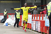 Mohamed Eisa celebrates scoring his 2nd goal during the EFL Sky Bet League 2 match between Crawley Town and Cheltenham Town at the Checkatrade.com Stadium, Crawley, England on 24 March 2018. Picture by Antony Thompson.