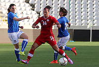 Fifa Womans World Cup Canada 2015 - Preview //<br /> Cyprus Cup 2015 Tournament ( Gsp Stadium Nicosia - Cyprus ) - <br /> Italy vs Canada 0-1   //  Melissa Tancredi of Canada (Middle) , challenges with Alia Guagni (L) and Valentina Giacinti of Italy (R)