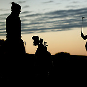 Ryder Cup 2016. Day Two. Rory McIlroy of Europe practicing on the driving range at dawn before the start of competition during the Ryder Cup at the Hazeltine National Golf Club on October 01, 2016 in Chaska, Minnesota.  (Photo by Tim Clayton/Corbis via Getty Images)