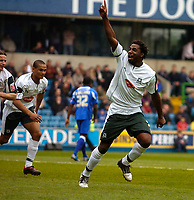 Photo: Alan Crowhurst.<br />Millwall v Plymouth Argyle. Coca Cola Championship. 15/04/2006. Vincent Pericard celebrates his goal for Plymouth.