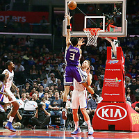 26 March 2016: Sacramento Kings forward Skal Labissiere (3) goes for the hook shot over LA Clippers forward Blake Griffin (32) during the Sacramento Kings 98-97 victory over the Los Angeles Clippers, at the Staples Center, Los Angeles, California, USA.