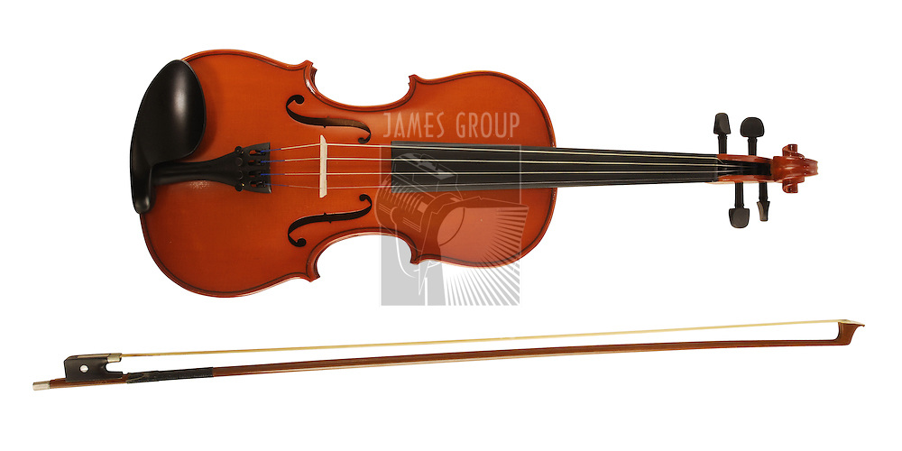 A violin and bow on white