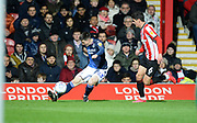 Nottingham Forest player Joe Lolley crosses the ball into the box in the first half during the EFL Sky Bet Championship match between Brentford and Nottingham Forest at Griffin Park, London, England on 28 January 2020.*** during the EFL Sky Bet Championship match between Brentford and Nottingham Forest at Griffin Park, London, England on 28 January 2020.