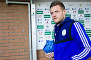Leicester City forward Jamie Vardy before  the Premier League match between Burnley and Leicester City at Turf Moor, Burnley, England on 19 January 2020.