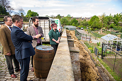 Pictured: George Elliis, Keith Brown, Josiah Lockhart and  Maia Gordon<br /> <br /> Cabinet Secretary for Economy, Jobs & Fair Work Keith Brown visited Gorgie City Farm today  to mark their accreditation as the 800th Living Wage employer in Scotland. Mr Brown met Josiah Lockhart, CEO and undertook a short tour of the farm, celebrating their accreditation and promoting the Living Wage more generally. The Scottish Government has set a target of reaching 1,000 Scottish-based Living Wage Accredited Employers by autumn 2017. While at the farm Mr Brown met Maia Gordon, Kirsty McGoff (17) and Zoe White (18), who have benefited from the living wage, and George Ellis, chair of the farm's board of directors<br /> Ger Harley | EEm 18 May 2017