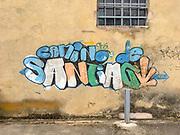 Camino de Santiago graffiti on a wall on St. James Way, Spain