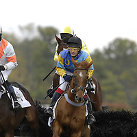 20 October 2007:  Liam McVicar on Beyond Repare (L) and Roderick MacKenzie on Bow Strada (R) both go over a National Fence as they compete in the $30,000 L.F. Jennnings Chase during the 70th running of the International Gold Cup Races on October 20, 2007 at the Great Meadow in The Plains, Va.  The race was won by Fly Past (5) ridden by Carl Rafter with Gather No Moss (7) ridden by Rylee Zimmerman and Thrumcap (4) with Robert Walsh aboard finishing 2nd and 3rd.