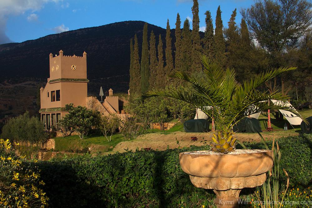 Africa, Morocco, Asni. Gardens at Richard Branson's Kasbah Tamadot luxury retreat in the Atlas Mountains.