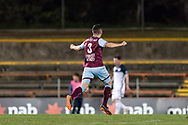 SYDNEY, AUSTRALIA - AUGUST 21: APIA Leichhardt Tigers defender Paul Galimi (3) celebrates a goal at the FFA Cup Round 16 soccer match between APIA Leichhardt Tigers FC and Melbourne Victory at Leichhardt Oval in Sydney on August 21, 2018. (Photo by Speed Media/Icon Sportswire)
