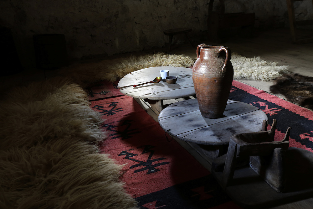 Interior of Kulla, a traditional tower in Theth, traditionally used as a place for people who have anger issues, to calm down.  Theth, Albania.