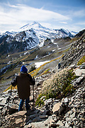 Courtney Blitch hikes the Table Mountain Trail from Heather Meadows; Mt. Baker-Snoqualmie National Forest in Washington state