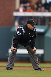 June 6, 2011; San Francisco, CA, USA;  MLB umpire Todd Tichenor (97) during the first inning between the San Francisco Giants and the Washington Nationals at AT&T Park.  San Francisco defeated Washington 5-4 in 13 innings.