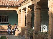 Bad Nauheim, Jugendstil Anlage Sprudelhof, Innenhof eines Badehauses