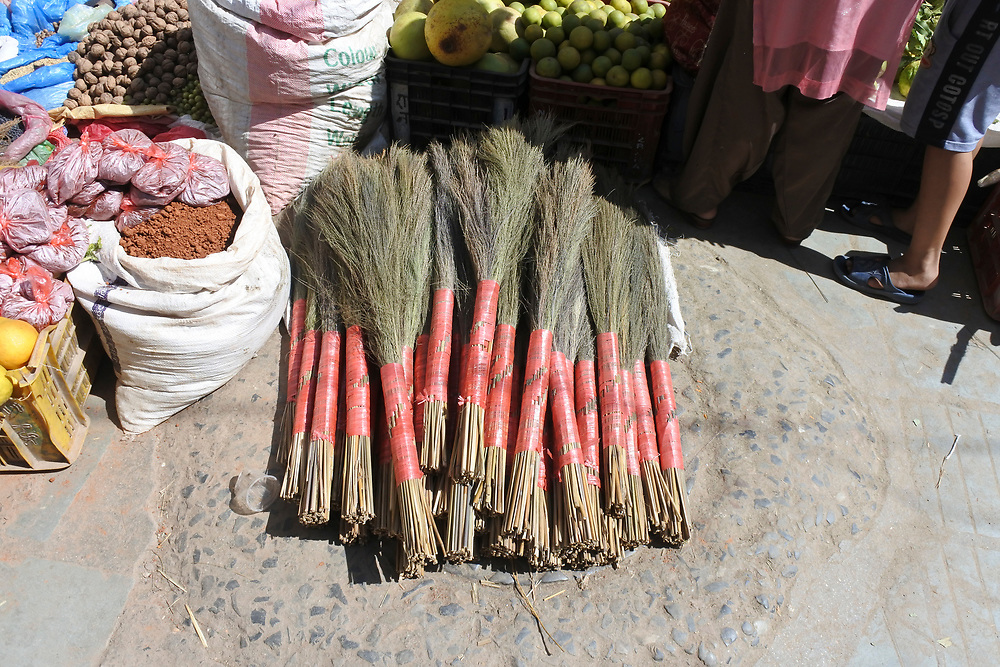 Brushes for sale in the market of kathmandu, Nepal