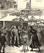 Colliery explosion near Accrington, North Lancashire, England,  November 1883. Of the 110 men and boys below ground at the time, 30 men died.  The main picture shows an injured miner (pitman) brought to the surface and his anxious wife rushing forward to greet him.  Engraving from 'The Illustrated London News' (London, 17 November 1883).