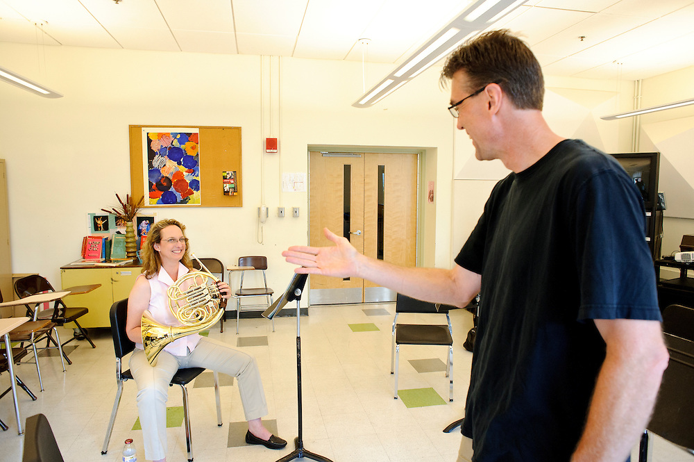(photo by Matt Roth).Assignment ID: 30127886A..Kristine Strecker, from Downingtown, PA, takes a private French Horn lesson from Baltimore Symphony Orchestra's principal French Horn player Phil Munds during the third annual BSO Academy at the Baltimore School for the Arts Sunday, June 24, 2012. ..
