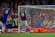 Chelsea forward Diego Costa (19) scores against West Ham United goalkeeper Adrian (13) to give Chelsea a 2-1 win during the Premier League match between Chelsea and West Ham United at Stamford Bridge, London, England on 15 August 2016. Photo by Jon Bromley.