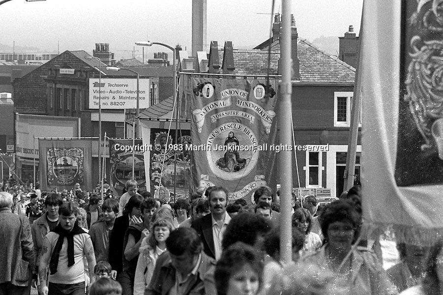 Mines Rescue and Kiverton Park banners, 1983 Yorkshire Miner's Gala. Barnsley