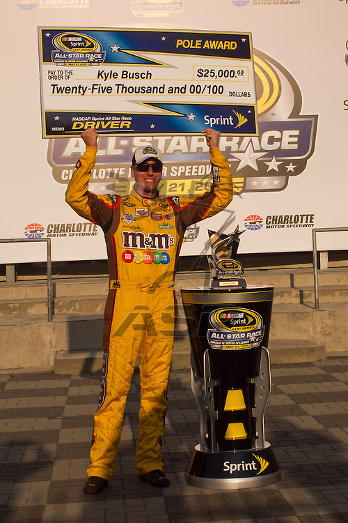CONCORD, NC - MAY 20, 2011:  Kyle Busch qualifies on the pole for the All-Star Race qualifying session at the Charlotte Motor Speedway in Concord, NC.