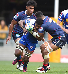 Cape Town-180427 Skhumbuzo Notshe of Stomers tackled by  Amakani Mafi of the Rebels in a Super 15 match played at Newlands stadium.photograph:Phando Jikelo/African News Agency/ANA