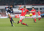 St Mirren&rsquo;s Jack Baird can't stop Dundee&rsquo;s Faissal El Bakhtaoui getting a shot on goal - Dundee v St Mirren in the William Hill Scottish Cup at Dens Park, Dundee. Photo: David Young<br /> <br />  - &copy; David Young - www.davidyoungphoto.co.uk - email: davidyoungphoto@gmail.com