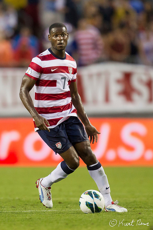 USA Men's National Team midfielder MAURICE EDU (7) during the Antigua & Barbuda vs USA Men's National Team  semifinal round of 2014 FIFA World Cup qualifier at Raymond James Stadium in Tampa, Fl. .