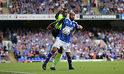 Ipswich Town striker David McGoldrick holds play up during the Sky Bet Championship match between Ipswich Town and Brighton and Hove Albion at Portman Road, Ipswich, England on 29 August 2015.