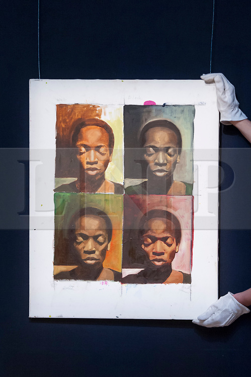 """© Licensed to London News Pictures. 23/03/2018. LONDON, UK. A technician hangs """"A La Warhol"""", by Njideka Akunyili Crosby (Est. GBP50,000-70000).  Preview of Modern and Contemporary African Art sale at Sotheby's, New Bond Street.  The auction will take place on 28 March 2018.   Photo credit: Stephen Chung/LNP"""