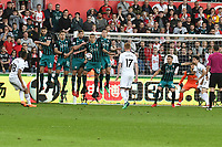 Football - 2017 / 2018 Premier League - Swansea City vs. Southampton<br /> <br /> Jordan Ayew of Swansea City, has his free kick blocked by the wall  at Liberty Stadium.<br /> <br /> COLORSPORT/WINSTON BYNORTH