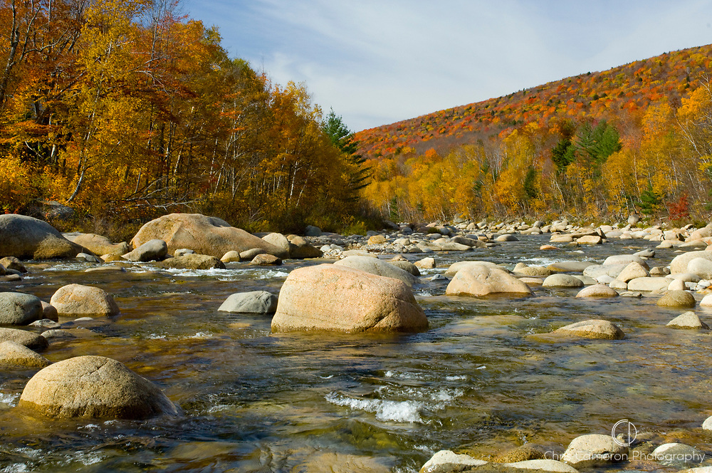 River beside the Kancamagus Highway in the White Mountain National Forest in New Hampshire, USA during the fall