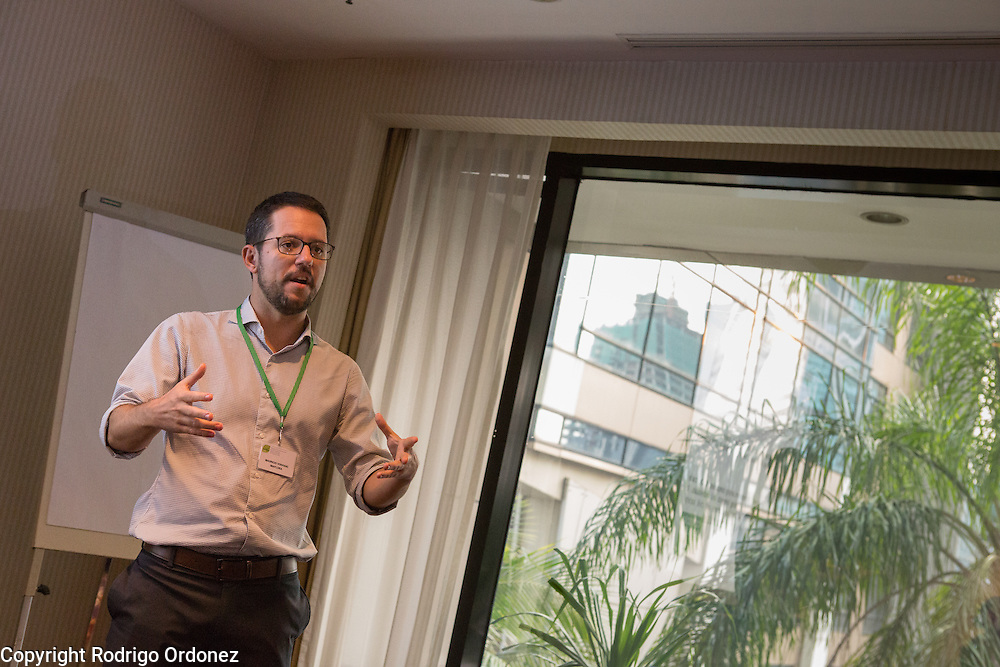 Mauricio Voivodic, Executive Director of Imaflora, responds to comments during a session on the Brazil Initiative at the General Assembly of the Tropical Forest Alliance 2020 in Jakarta, Indonesia, on March 10, 2016. In these working sessions participants established the 2016-18 strategy for TFA 2020's initiatives in priority countries and regions. <br /> (Photo: Rodrigo Ordonez)
