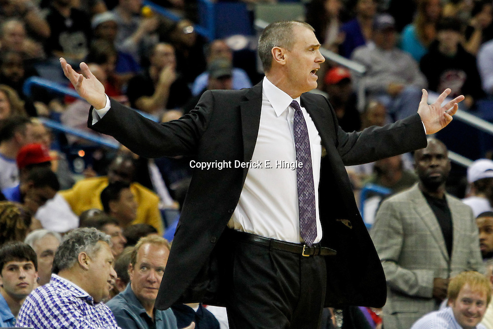 January 21, 2012; New Orleans, LA, USA; Dallas Mavericks head coach Rick Carlisle argues and officials call during the second half of a game against the New Orleans Hornets at the New Orleans Arena. The Mavericks defeated the Hornets 83-81.  Mandatory Credit: Derick E. Hingle-US PRESSWIRE