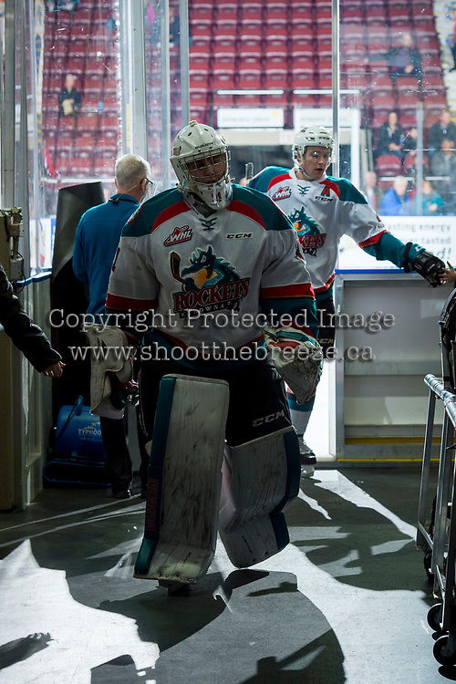 KELOWNA, CANADA - MARCH 7: James Porter #1 of the Kelowna Rockets exits the ice after warm up against the Vancouver Giants on March 7, 2018 at Prospera Place in Kelowna, British Columbia, Canada.  (Photo by Marissa Baecker/Shoot the Breeze)  *** Local Caption ***