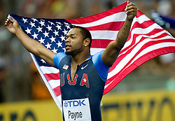 David Payne of United States celebrates winning the bronze medal in the men's 110 Metres Hurdles Final during day six of the 12th IAAF World Athletics Championships at the Olympic Stadium on August 20, 2009 in Berlin, Germany. (Photo by Vid Ponikvar / Sportida)