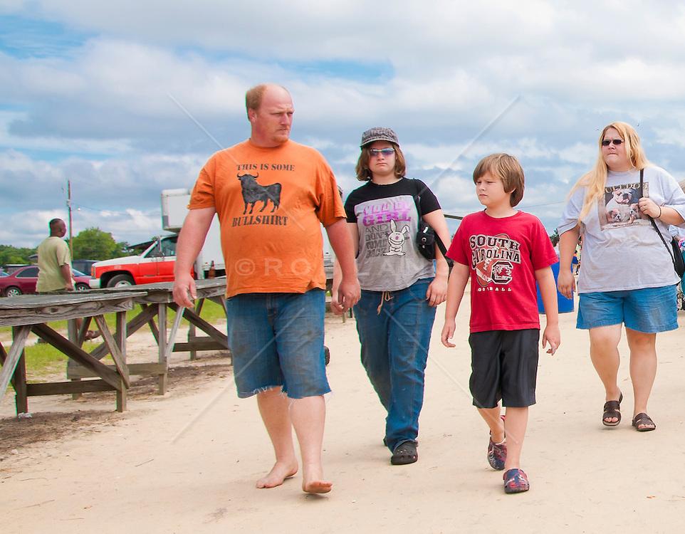 family of four at a flea market in South Carolina