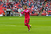 Forest Green Rovers goalkeeper Sam Russell(23) applauds the home supporters at the start of the second half during the Vanarama National League Play Off Final match between Tranmere Rovers and Forest Green Rovers at Wembley Stadium, London, England on 14 May 2017. Photo by Shane Healey.