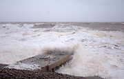 Budleigh Salterton - Sunday, Feb 03 2008: Sea water splashes over a water outlet during a storm.  (Photo by Peter Horrell / http://www.peterhorrell.com)