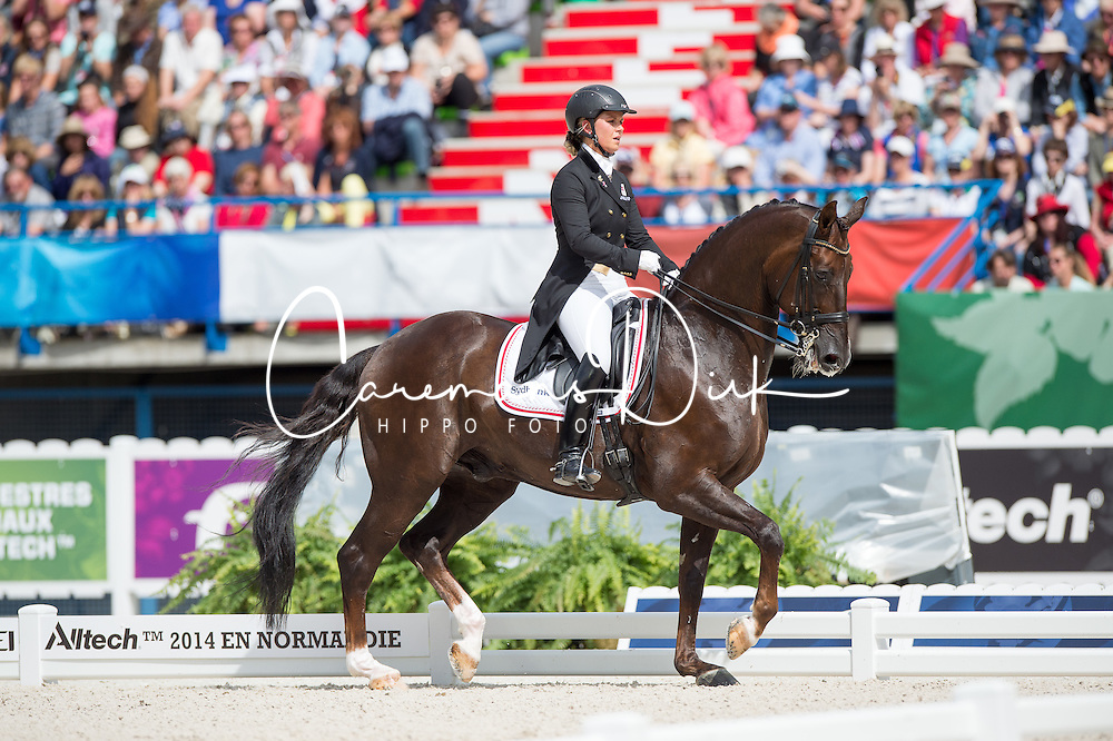 Anna Kasprzak, (DEN), Donnperignon - Freestyle Grand Prix Dressage - Alltech FEI World Equestrian Games™ 2014 - Normandy, France.<br /> © Hippo Foto Team - Jon Stroud<br /> 25/06/14