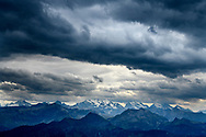 Blüemlisalp group and Doldenhorn and rain clouds of a cold front from the Niederhorn, Interlaken, Berne, Switzerland