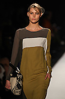 Juju Ivanyuk walks the runway wearing BCBG MAXAZRIA Fall 2012 during Mercedes-Benz Fashion Week in New York City,  on February 9th, 2012