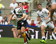 Twickenham, Surrey, United Kingdom.  Alex GOODE, passes the ball, during the, Old Mutual Wealth Cup, England vs Barbarian's match, played at the  RFU. Twickenham Stadium, on Sunday   28/05/2017England    <br /> <br /> [Mandatory Credit Peter SPURRIER/Intersport Images]