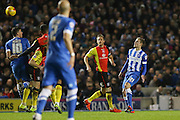 Brighton striker (on loan from Manchester United), James Wilson (21) looks on with Brighton striker, Tomer Hemed (10) winning the ball during the Sky Bet Championship match between Brighton and Hove Albion and Birmingham City at the American Express Community Stadium, Brighton and Hove, England on 28 November 2015. Photo by Phil Duncan.