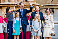 1-4-2018 PALMA DE MALLORCA . PALMA DE MALLORCA -, Queen Sofia,  King Juan Carlos King Felipe, queen  Letizia, Princess Leonor, Princess Sofia attend the eastern mass at the cathedral in Palma de Mallorca, 1 April 2018 . COPYRIGHT ROBIN UTRECHT<br /> eastern mass mis pasen paas spaanse spain spanje palma de mallorca princess prinses leonor sofia king koning juan carlos koningin queen sofia princess prinses letizia elena prince prins felipe ROBIN UTRECHT