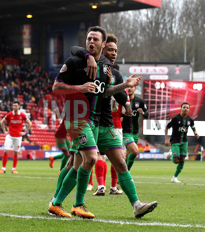 Lee Tomlin of Bristol City celebrates with Bobby Reid of Bristol City after scoring from the penalty spot - Mandatory byline: Robbie Stephenson/JMP - 06/02/2016 - FOOTBALL - The Valley - Charlton, England - Charlton Athletic v Bristol City - Sky Bet Championship