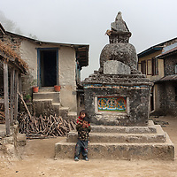 Two kids playing near the stupa of Golphu Bhanjyang.