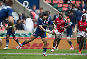 Twickenham, Surrey United Kingdom. USA's, Folau NIUA, moving through midfield looking to pass out, Pool A match USA vs Kenya , at the &quot;2017 HSBC London Rugby Sevens&quot;,  Saturday 20/05/2017 RFU. Twickenham Stadium, England    <br /> <br /> [Mandatory Credit Peter SPURRIER/Intersport Images]